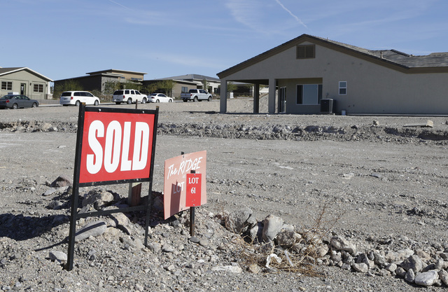 A sold sign sits lot at Fox Creek subdivision project at the Ridge in Bullhead City, Ariz., on Thursday, Jan 6, 2017. (Bizuayehu Tesfaye/Las Vegas Review-Journal)@bizutesfaye