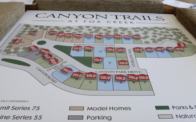 Sold lots at Fox Creek subdivision are displayed at the new home Welcome Center at the Ridge in Bullhead City, Ariz., on Thursday, Jan 6, 2017. (Bizuayehu Tesfaye/Las Vegas Review-Journal)@bizutesfaye