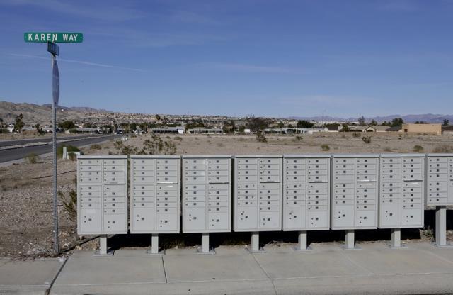 Empty mail boxes sit on partially built Sun Meadow subdivision project on Karen Way in Bullhead City, Ariz., on Thursday, Jan 6, 2017. (Bizuayehu Tesfaye/Las Vegas Review-Journal)@bizutesfaye