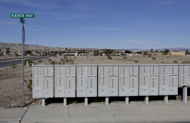 Empty mail boxes sit on partially built Sun Meadow subdivision project on Karen Way in Bullhead City, Ariz., on Thursday, Jan 6, 2017. (Bizuayehu Tesfaye/Las Vegas Review-Journal)@bizutesfaye