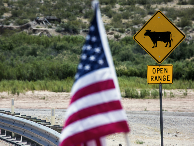American flags are seen near an open range sign on state Route 170 near the Bundy Ranch on May 19, 2016. Jeff Scheid/Las Vegas Review-Journal Follow @jlscheid