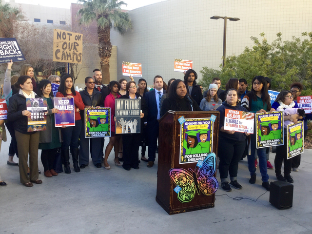 UNLV student Micajah Daniels, speaks at a press conference Dec. 1, 2016, that was organized after a UNLV professor said he would alert Immigration and Customs Enforcement about students in his cla ...