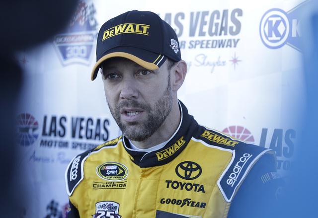 The 2003 NASCAR Champion Matt Kenseth addressees the media after racing a Goodyear tire test at Las Vegas Speedway on Wednesday, Jan. 11, 2017.(Bizuayehu Tesfaye/Las Vegas Review-Journal) @bizutesfaye