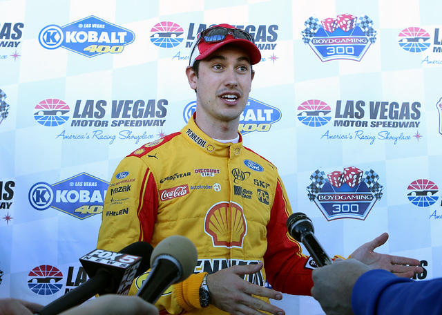 The 2015 Daytona 500 winner Joey Logano talks about his experience after racing a Goodyear tire test at Las Vegas Speedway on Wednesday, Jan. 11, 2017.(Bizuayehu Tesfaye/Las Vegas Review-Journal)  ...