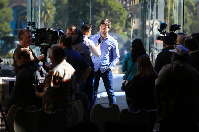 Monster Energy NASCAR Cup Series driver Daniel Suarez, center, answers questions during West Coast Media Day at the Bellagio in Las Vegas on Thursday, Jan. 26, 2017. (Brett Le Blanc/Las Vegas Revi ...