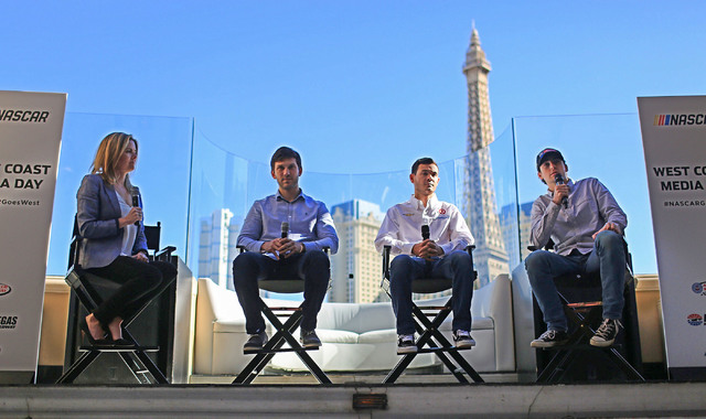 Monster Energy NASCAR Cup Series drivers, left to right, Daniel Suarez, Kyle Larson and Ryan Blaney answer questions during West Coast Media Day at the Bellagio in Las Vegas on Thursday, Jan. 26,  ...
