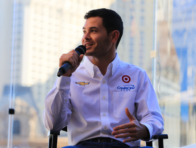 Monster Energy NASCAR Cup Series driver Kyle Larson answers questions during West Coast Media Day at the Bellagio in Las Vegas on Thursday, Jan. 26, 2017. (Brett Le Blanc/Las Vegas Review-Journal) ...