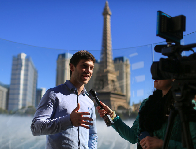 Monster Energy NASCAR Cup Series driver Daniel Suarez answers questions during West Coast Media Day at the Bellagio in Las Vegas on Thursday, Jan. 26, 2017. (Brett Le Blanc/Las Vegas Review-Journa ...