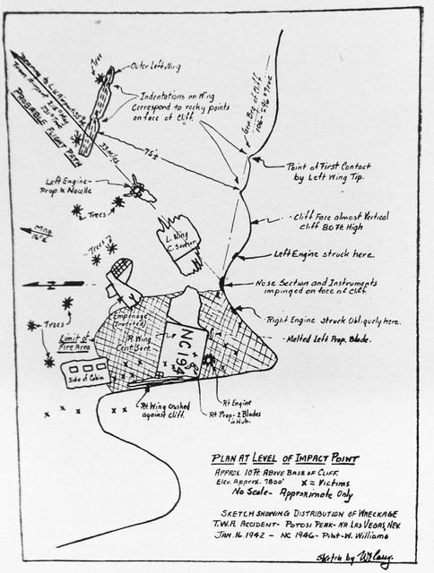 A sketch by Warren E. Carey's of the crash scene with X's indicating where the bodies were found. Carey was the lead Civil Aeronautics Board investigator. (Courtesy of Robert Matzen)