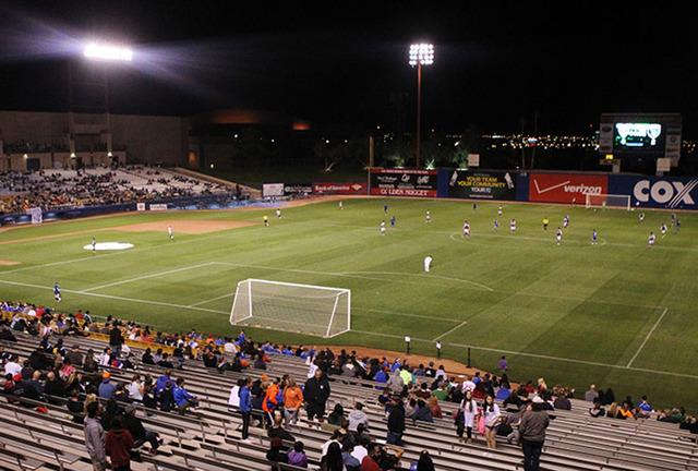 Fans watch a Major League Soccer game between San Jose and Colorado at Cashman Field in Las Vegas Sunday, Feb. 15, 2015. San Jose won 2-0. (Erik Verduzco/Las Vegas Review-Journal)