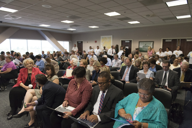 The audience is seen prior to a legislative panel meeting to discuss reorganization plans for the Clark County School District at the Sawyer Building in Las Vegas Tuesday, Aug. 16, 2016. (Jason Og ...