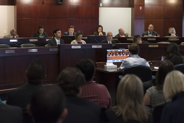 Legislative panelists meet to discuss reorganization plans for the Clark County School District at the Sawyer Building in Las Vegas Tuesday, Aug. 16, 2016. (Jason Ogulnik/Las Vegas Review-Journal)
