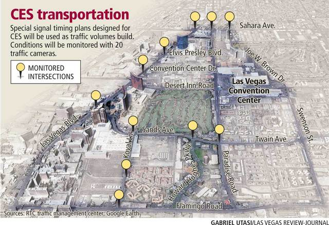 Monitored intersections during CES at the Las Vegas Convention Center in Las Vegas (Gabriel Utasi/Las Vegas Review-Journal)