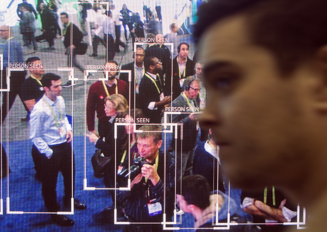 The Netatmo security camera detects people on a large screen during CES 2017 at the Sands Convention Center on Thursday, Jan. 05, 2017. Around 175,000 people are expected the attend the world's la ...