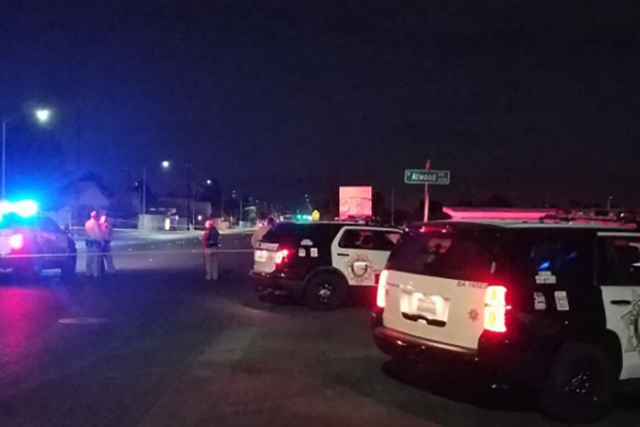 A man walking near North Rainbow Boulevard and West Atwood Avenue was shot and wounded just before 2:30 a.m., Thursday, Jan. 12, 2017. (Mike Shoro/Las Vegas Review-Journal)