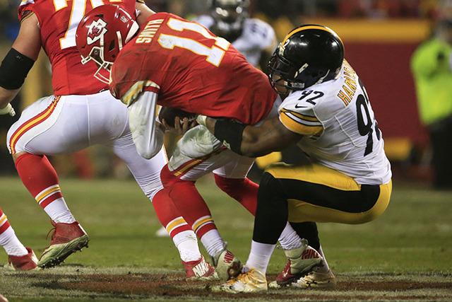 Pittsburgh Steelers outside linebacker James Harrison sacks Kansas City Chiefs quarterback Alex Smith (11) during the second half of an NFL divisional playoff football game Sunday, Jan. 15, 2017,  ...