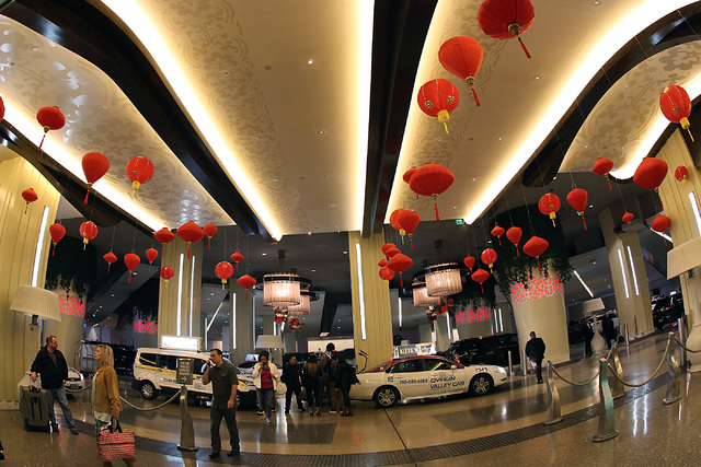 Digital Chinese New Year decoration forThe Year of the Rooster is seen at The Cosmopolitan of Las Vegas on Friday, Jan. 27, 2017, in Las Vegas. (Bizuayehu Tesfaye/Las Vegas Review-Journal)