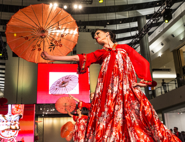 Performers begin the evening with a traditional Chinese dance during the sixth annual Chinese New Year in the Desert celebration on Friday, Jan. 27, 2017, at the Fashion Show Mall, in Las Vegas. ( ...