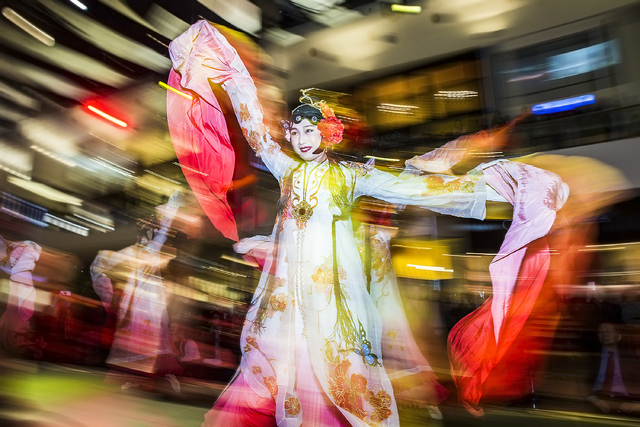 Dancers perform the Chinese ribbon dance during the sixth annual Chinese New Year in the Desert celebration on Friday, Jan. 27, 2017, at the Fashion Show Mall, in Las Vegas. (Benjamin Hager/Las Ve ...