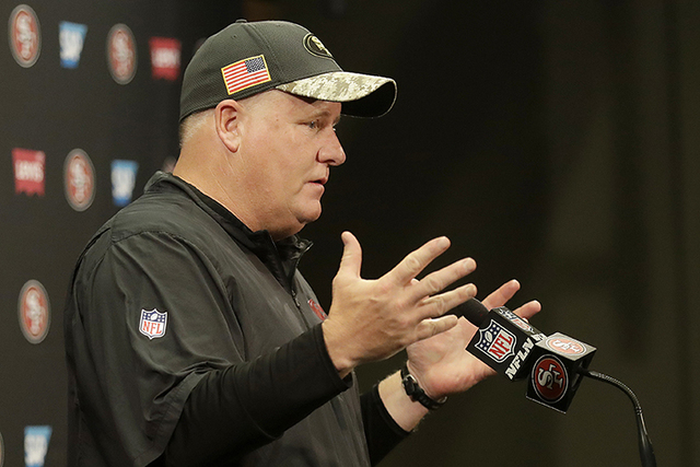 San Francisco 49ers coach Chip Kelly speaks at a news conference after the team's NFL football game against the Seattle Seahawks in Santa Clara, Calif., Sunday, Jan. 1, 2017. (Marcio Jose Sanchez/AP)