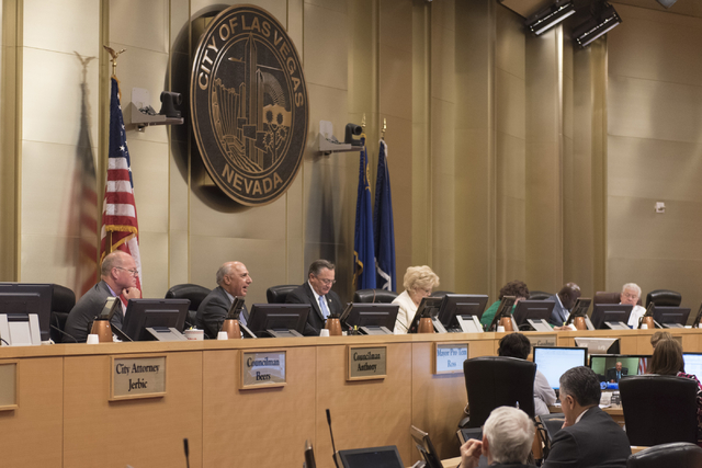 City council members and Mayor Carolyn Goodman meet at Las Vegas City Hall Council Chambers, Wednesday, Aug. 3, 2016. (Jason Ogulnik/Las Vegas Review-Journal)