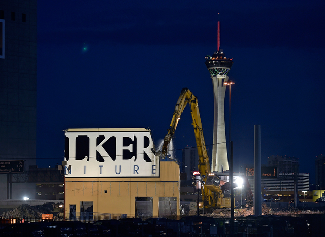 The final section of the Walker Furniture warehouse is torn down Monday, April 11, 2016, in Las Vegas. The building had to be removed to make room for Project Neon. David Becker/Las Vegas Review-J ...