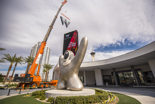The sign for the new W Hotel is raised at SLS Las Vegas on Friday, Oct. 14, 2016. (Joshua Dahl/Las Vegas Review-Journal)
