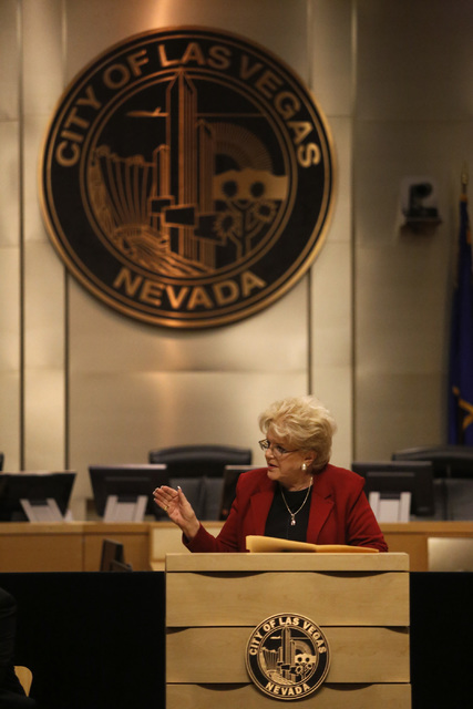 Las Vegas Mayor Carolyn G. Goodman delivers her annual State of the City address at City Hall on Thursday, Jan. 12, 2017, in Las Vegas. (Christian K. Lee/Las Vegas Review-Journal) @chrisklee_jpeg