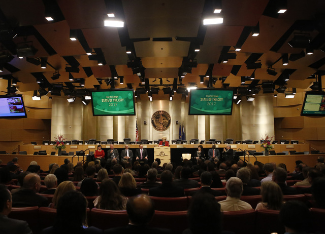 A full room listens as Las Vegas Mayor Carolyn G. Goodman delivers an annual State of the City Address at City Hall on Thursday, Jan. 12, 2017, in Las Vegas. (Christian K. Lee/Las Vegas Review-Jou ...