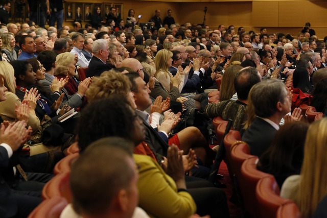 Guests clap as Las Vegas Mayor Carolyn G. Goodman delivers her annual State of the City address at City Hall on Thursday, Jan. 12, 2017, in Las Vegas. (Christian K. Lee/Las Vegas Review-Journal) @ ...