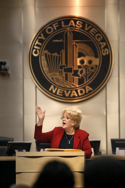 Las Vegas Mayor Carolyn G. Goodman gestures towards the crowd as she delivers an annual State of the City Address at City Hall on Thursday, Jan. 12, 2017, in Las Vegas. (Christian K. Lee/Las Vegas ...