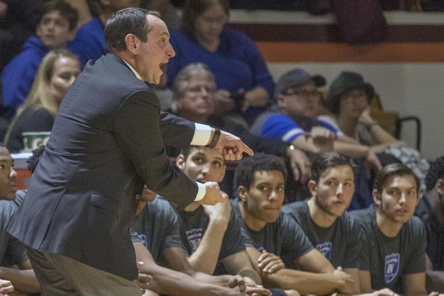 Duke head coach Mike Krzyzewski yells to his players during the first half of an NCAA college basketball game Saturday, Dec 31, 2016, at Cassell Coliseum in Blacksburg, Va. Tech won 89-75. (Don Pe ...