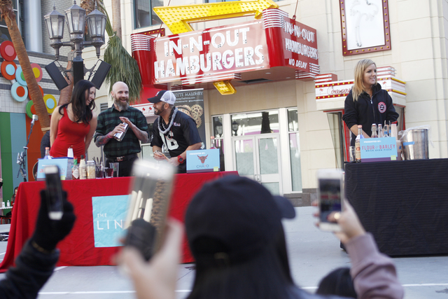 Contestants from local bars participate in the inaugural National Hangover Day Cocktail Competition at the LINQ Promenade on Sunday, January 1, 2017, in Las Vegas. (Rachel Aston/Las Vegas Review-J ...
