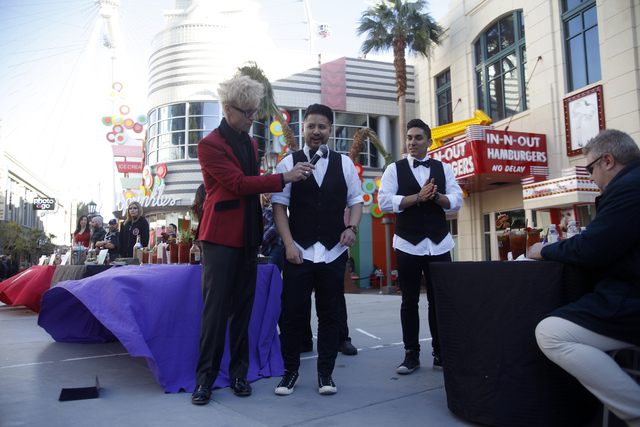 Emcee Murray Sawchuck speaks to contestant Julian Liwanag at the inaugural National Hangover Day Cocktail Competition at the LINQ Promenade on Sunday, January 1, 2017, in Las Vegas. (Rachel Aston/ ...
