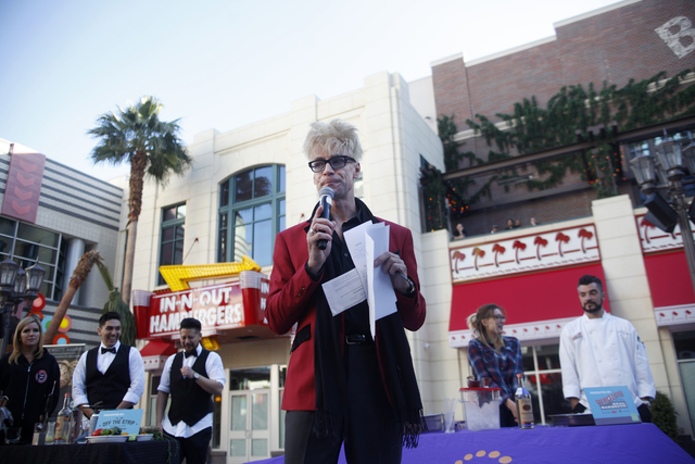Emcee Murray Sawchuck rallies up the crowd at the inaugural National Hangover Day Cocktail Competition at the LINQ Promenade on Sunday, January 1, 2017, in Las Vegas. (Rachel Aston/Las Vegas Revie ...