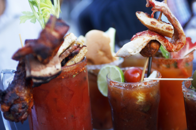 Bloody marys on the judges' table at the inaugural National Hangover Day Cocktail Competition at the LINQ Promenade on Sunday, January 1, 2017, in Las Vegas. (Rachel Aston/Las Vegas Review-Journal ...