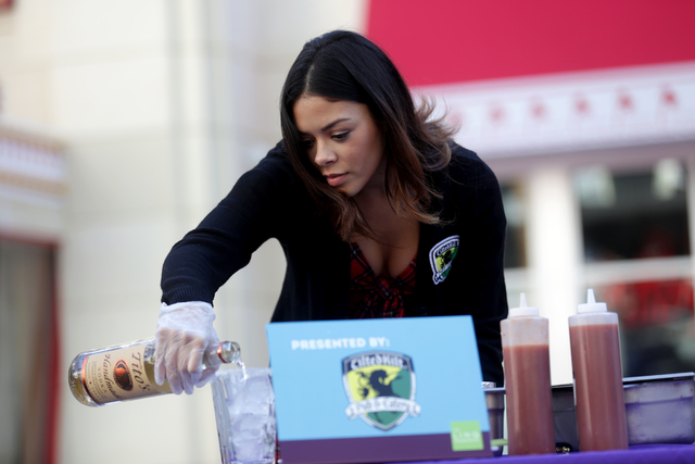 Tara Hough makes a bloody mary at the inaugural National Hangover Day Cocktail Competition at the LINQ Promenade on Sunday, January 1, 2017, in Las Vegas. (Rachel Aston/Las Vegas Review-Journal) @ ...