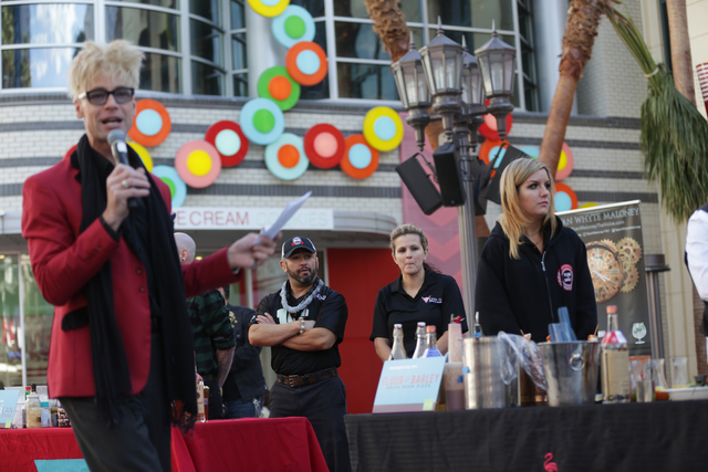 Emcee Murray Sawchuck speaks to the crowd at the inaugural National Hangover Day Cocktail Competition at the LINQ Promenade on Sunday, January 1, 2017, in Las Vegas. (Rachel Aston/Las Vegas Review ...