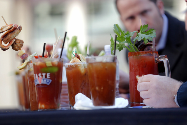 Bloody marks at the inaugural National Hangover Day Cocktail Competition at the LINQ Promenade on Sunday, January 1, 2017, in Las Vegas. (Rachel Aston/Las Vegas Review-Journal) @rookie__rae
