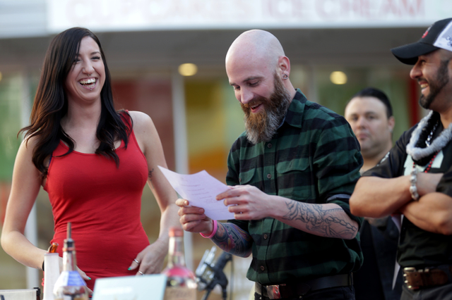 """Anji """"Yoshi"""" Hastings and Jesse Barrettat win third place at the inaugural National Hangover Day Cocktail Competition at the LINQ Promenade on Sunday, January 1, 2017, in Las Veg ..."""