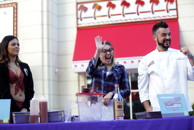 Claudia Durenberger and Executive Sous Chef Abe Tsavalakoglou win first place inaugural National Hangover Day Cocktail Competition at the LINQ Promenade on Sunday, January 1, 2017, in Las Vegas. ( ...