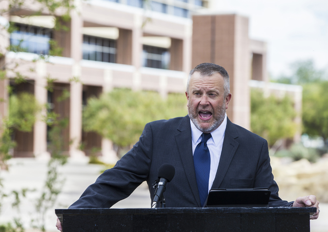 School leader Steve Werlein addresses the media outside the Grant Sawyer Federal Building on Friday, Oct. 14, 2016, in Las Vegas. The press conference was called to announce that the Nevada Connec ...