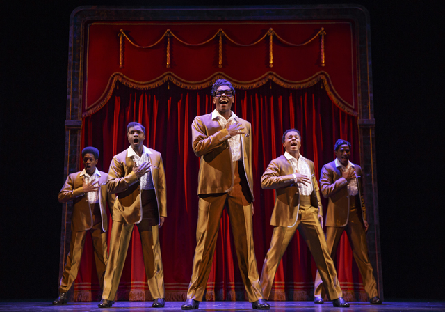 "The temptin' Temptations strut their stuff in ""Motown the Musical,"" which launches its national tour Tuesday at The Smith Center. JOAN MARCUS/SMITH CENTER FOR THE PERFORMING ARTS"