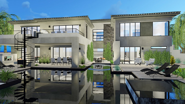 COURTESY   An artist's rendering of a Blue Heron Design Build pre-designed home in The Bluffs community in Southern Highlands. Prices start at $1.2 million dollars.
