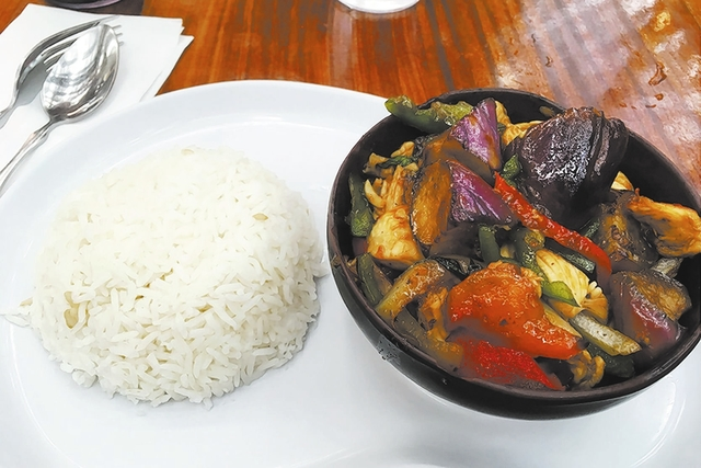 Spicy eggplant at a 4-out-of-5 spice level provided a pleasant kick. Brown rice can be substituted. (Brian Sandford/View)