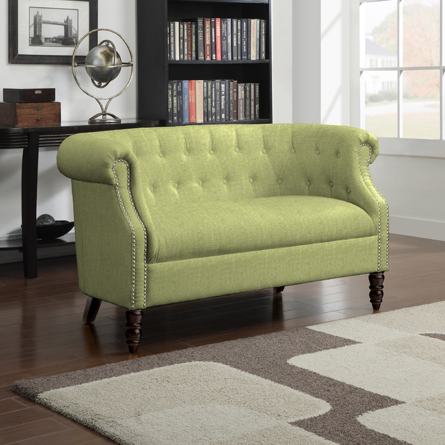 COURTESY This Three Posts Huntingdon loveseat represents Pantone's Greenery shade.