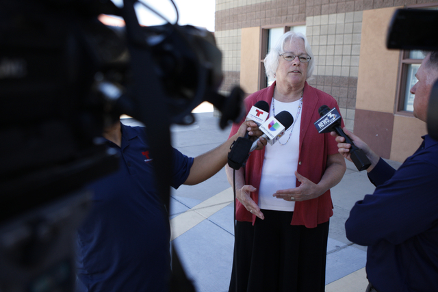 Clark County School Board member Carolyn Edwards is interviewed about the district's student count day outside of Wright Elementary School in Las Vegas Friday, Sept. 19, 2014.  (Erik Verduzco/Las  ...