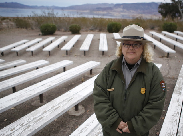 Visitor use assistant Yolanda Sherwood, 45, at the Boulder Beach Amphitheater on Saturday, Jan. 07, 2017, in Boulder City. Sherwood educates visitors about coyotes. (Christian K. Lee/Las Vegas Rev ...