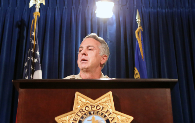 Sheriff Joseph Lombardo briefs the media on a violent crime spike during a news conference on April 27, 2016, at Las Vegas police headquarters. Bizuayehu Tesfaye/Las Vegas Review-Journal Follow @b ...