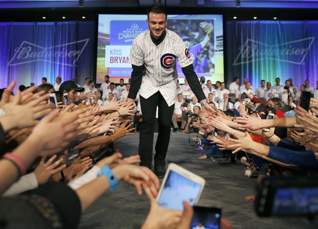 Kris Bryant is introduced at the Chicago Cubs' annual baseball fan convention Friday, Jan. 13, 2017, in Chicago. (Charles Rex Arbogast/AP)